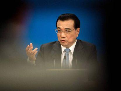 El presidente chino Li Keqiang durante la rueda de prensa anual en el Congreso chino este miércoles.