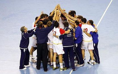 Los jugadores de la selección española celebran su pase a la final.