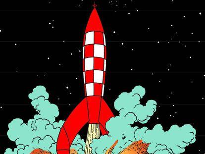 Viñeta de Tintín en la Luna que será motivo de exposición en Cosmocaixa.