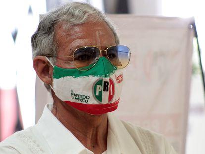 Un militante del PRI este año en Cuernavaca.