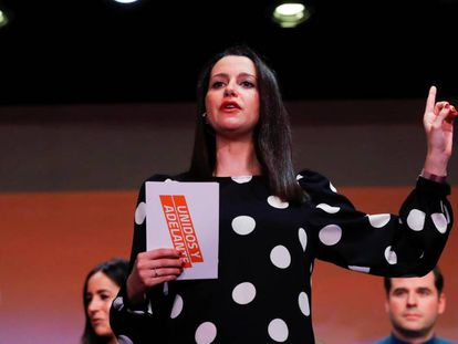 La portavoz parlamentaria de Ciudadanos, Inés Arrimadas, este domingo en Madrid.
