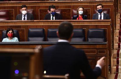 El presidente del Gobierno, Pedro Sánchez, interviene durante una sesión de Control al Gobierno, este miércoles, en el Congreso de los Diputados, en Madrid, (España).
