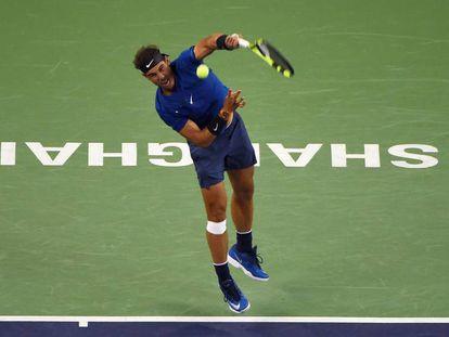 Nadal, en la final contra Federer de este domingo en Shanghai.