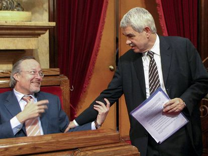 Josep Piqué y Pasqual Maragall en el Parlament.