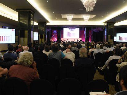 Asamblea de socios de la SGAE celebrada este lunes en Madrid.