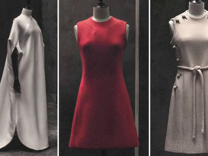 Algunos de los vestidos de Pertegaz que se mostrarán en la exposición que acoge la Sala Canal de Isabel II de Madrid.