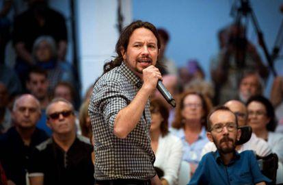 El líder de Podemos, Pablo Iglesias, durante un acto de precampaña en Madrid.