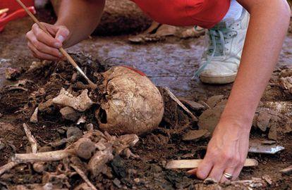 Forenses recuperan en 1992 los restos de al menos 50 niños asesinados en El Mozote