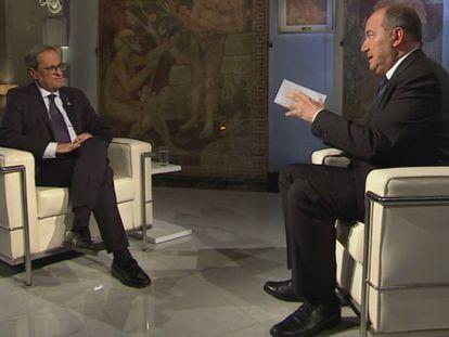 Quim Torra, cuando era presidente de la Generalitat, entrevistado en TV3 por Vicent Sanchis.