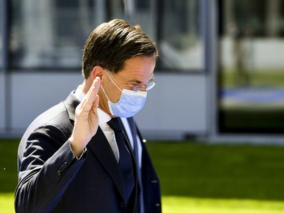 El primer ministro holandés, Mark Rutte, a su llegada a la reunión de la OTAN, el 14 de junio en Bruselas.