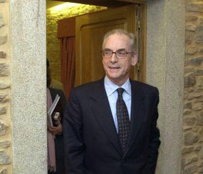 El presidente de la Confederación de Empresarios de Galicia, Antonio Ramilo, tras anunciar su dimisión.