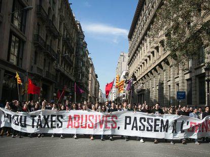 Manifestación contra las tasas universitarias, en 2017.