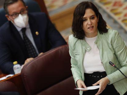 Isabel Díaz Ayuso, este jueves en la Asamblea de Madrid.
