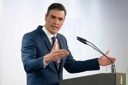 Pedro Sánchez, en una rueda de prensa en el palacio de la Moncloa.