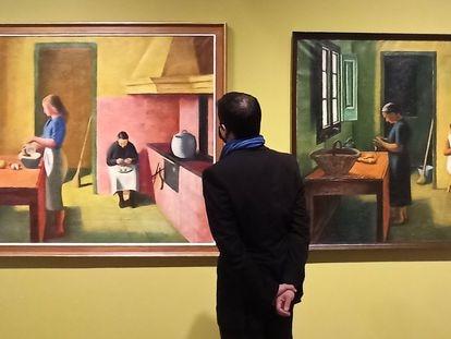 Las dos obras tituladas 'La cuina' (La cocina) pintadas por Miquel Villà en 1939 y entre 1949-1965, respectivamente que se pueden ver en la exposición de Sitges.