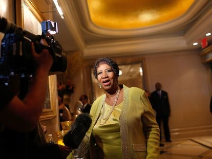 NEW YORK, NY - MARCH 22:  Singer Aretha Franklin speaks to the media at her 72nd Birthday Celebration at the Ritz Carlton on March 22, 2014 in New York City.  (Photo by J. Countess/Getty Images)