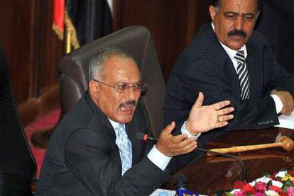 El presidente yemení, Alí Abdalá Saleh, en el Parlamento.