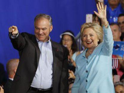 Las claves del primer mitin conjunto del candidato a vicepresidente con la demócrata Hillary Clinton