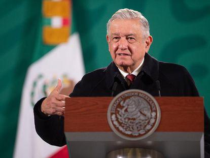 El presidente mexicano, Andrés Manuel Lopez Obrador, en el Palacio Nacional.