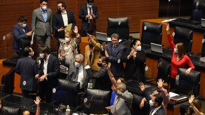 El grupo parlamentario de Morena, en la comisión permanente del Congreso.