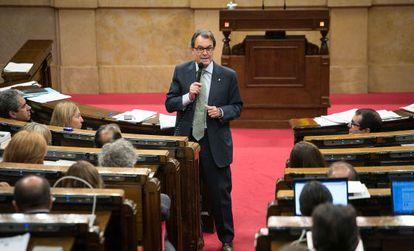 Artur Mas, ayer en una de sus intervenciones en el 'Parlament'.