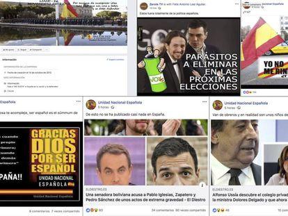 Posts en Facebook de las páginas Unidad Nacional Española y Zarote TV, inhabilitadas por la red social.