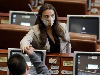 La exministra Karen Abudinen, durante la moción de censura en su contra el pasado 3 de septiembre en la Cámara de Representantes en Bogotá (Colombia).