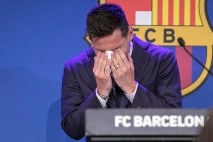 Rueda de prensa de despedida de Leo Messi del FC. Barcelona en el Camp Nou, el 8 de agosto.