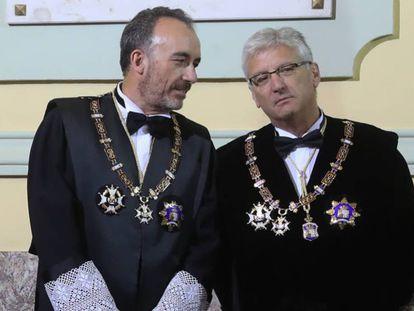 Manuel Marchena (a la izquierda), junto al también magistrado del Supremo Luis María Díez-Picazo, en una foto del pasado mes de septiembre.