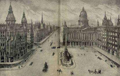 Futura plaza de Callao, según el proyecto de José Luis de Oriol en 1921.