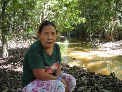 Rita, indígena piripkura en un rincón de su pueblo en el Mato Grosso.
