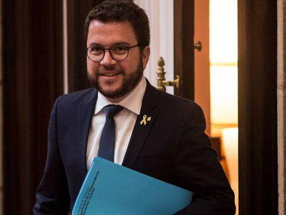 Pere Aragonès, este lunes en el Parlament.