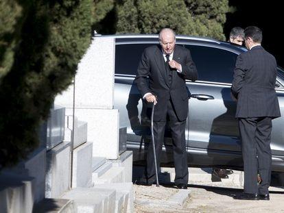 El rey emérito, a su llegada el pasado enero al funeral de la infanta doña Pilar.