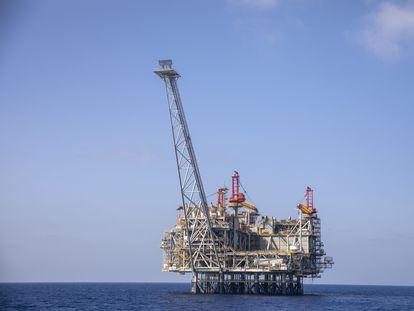 Plataforma gasística israelí del yacimiento Leviatán en el Mediterráneo Oriental.
