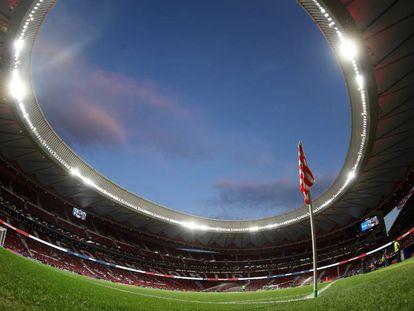 El Wanda Metropolitano antes del partido.