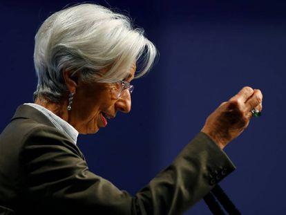 La presidente del Banco Central Europeo, Christine Lagarde, en el 29º Congreso Europeo sobre Bancos de Fráncfort.