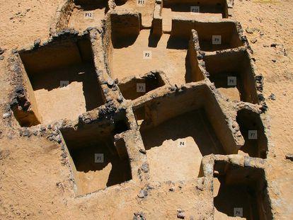 Restos de un monasterio cristiano hallado en el oasis de Bahariya (Egipto).