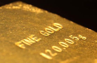 Un lingote de oro, en una exposición en Japón.