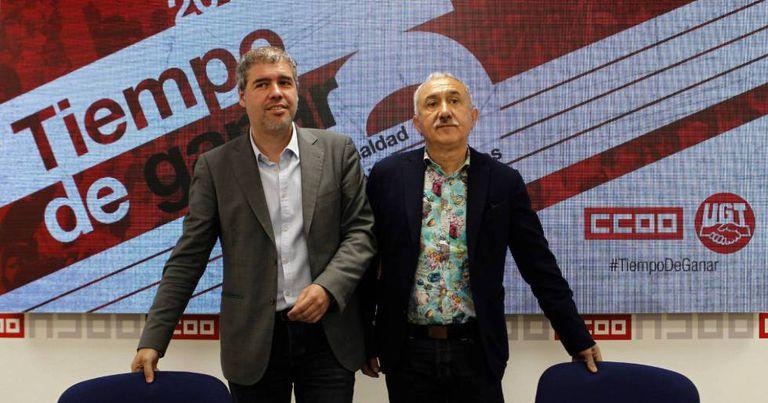 Los líderes de CC OO, Unai Sordo, y de UGT, Pepe Álvarez.