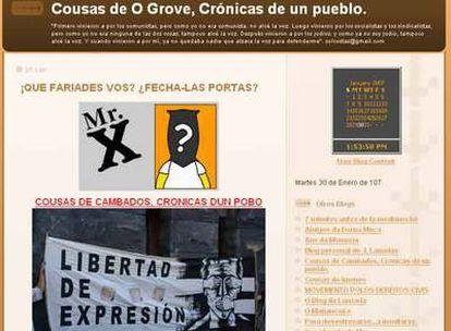 """Captura de pantalla del blog """"Cousas de Cambados"""" (http://ogrobe.blogspot.com/)."""