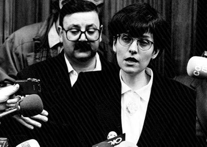 Maria Àngels Feliu, secuestrada el 20 de noviembre de 1992, tras su liberación 16 meses después.