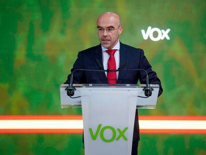 El vicepresidente primero de Acción Política y eurodiputado de Vox, Jorge Buxadé, durante una rueda de prensa el pasado junio.