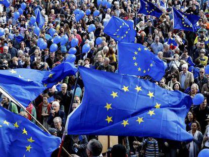 Manifestación de Pulse of Europe en Berlín, el domingo 2 de abril.