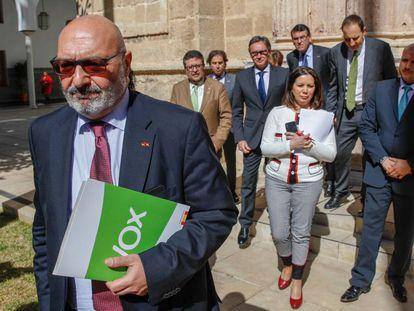 El portavoz de Vox, Alejandro Hernández, seguido de varios diputados de su grupo en el Parlamento de Andalucía.