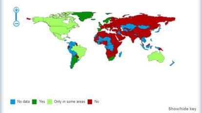 Captura de pantalla del mapa de ILGA sobre adopciones por parte de parejas homosexuales.