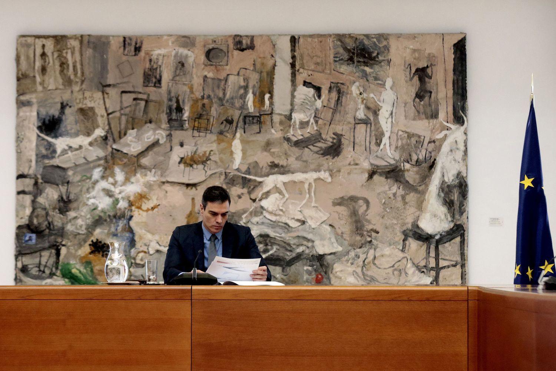 El presidente Pedro Sánchez, durante la reunión del comité técnico de este domingo.