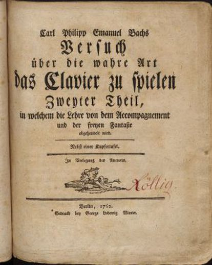 Segunda parte del 'Ensayo sobre el verdadero arte de tocar los instrumentos de tecla' (1762).
