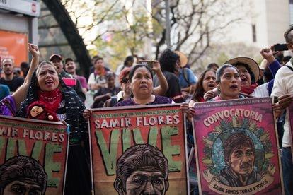 Protesta por el asesinato del activista Samir Flores, un año después.