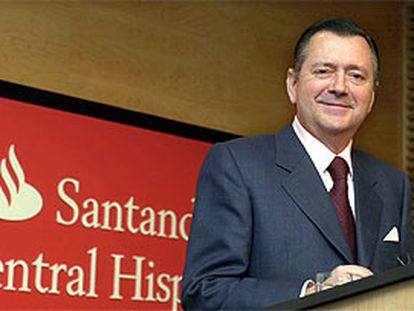 El consejero delegado del SCH, Alfredo Saez, durante la presentación del informe de beneficios del banco.