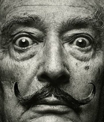 Primer plano de Salvador Dalí, en Madrid, en 1978.